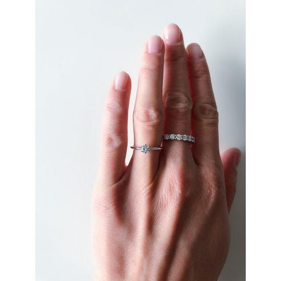 Классическое кольцо с бриллиантом,  Больше Изображение 4