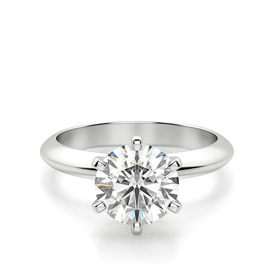 Классическое кольцо с бриллиантом, Больше Изображение 1