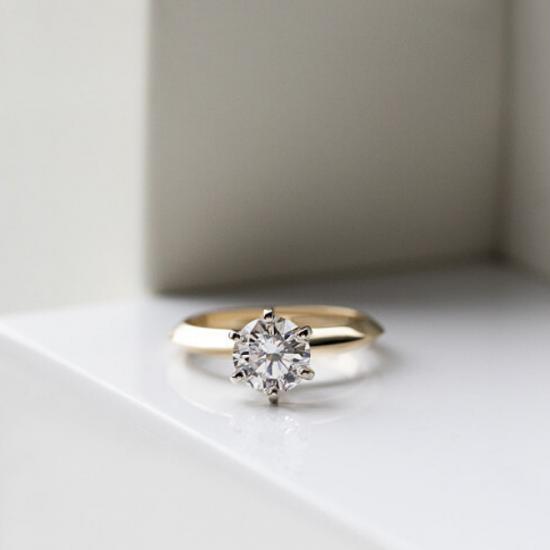 Кольцо с бриллиантом 0.55 кт из желтого золота 750 пробы,  Больше Изображение 4