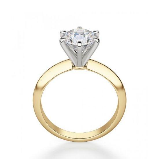 Кольцо с бриллиантом 0.55 кт из желтого золота 750 пробы,  Больше Изображение 2