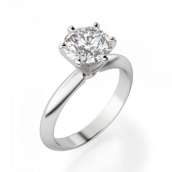 Классическое кольцо с круглым бриллиантом 0.40 карата,  Больше Изображение 3