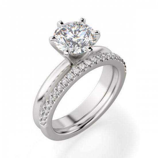 Классическое кольцо с круглым бриллиантом 0.40 карата,  Больше Изображение 4