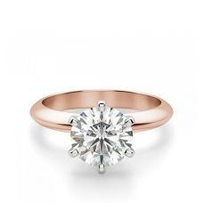 Классическое кольцо с бриллиантом из розового золота