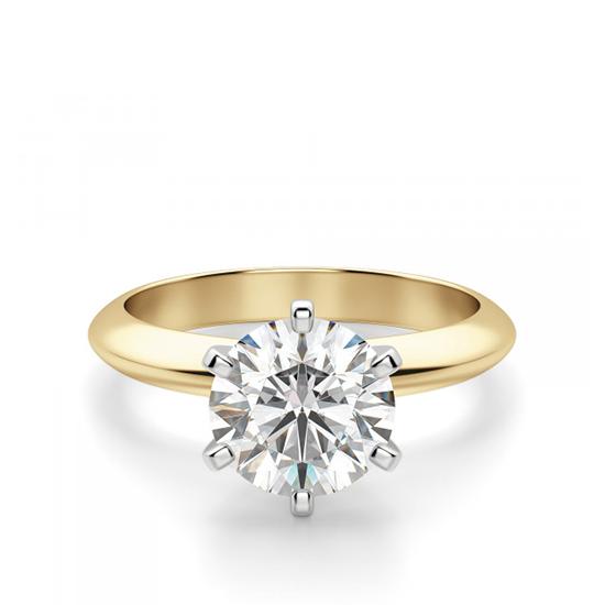 Кольцо с бриллиантом 0.55 кт из желтого золота 750 пробы, Больше Изображение 1