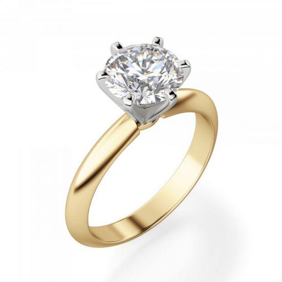 Кольцо с бриллиантом 0.55 кт из желтого золота 750 пробы,  Больше Изображение 3