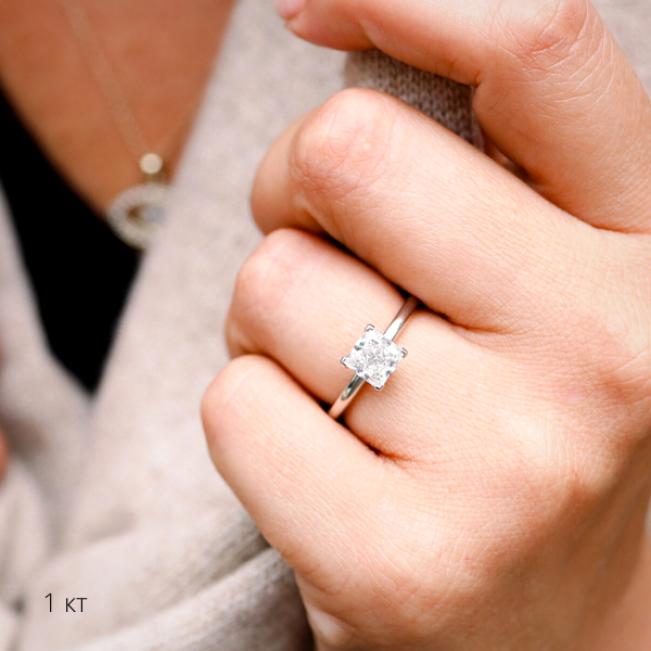 Кольцо с бриллиантом Принцесса 1 карат