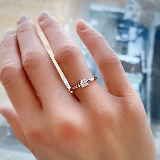 Кольцо с бриллиантом Принцесса,  Больше Изображение 7