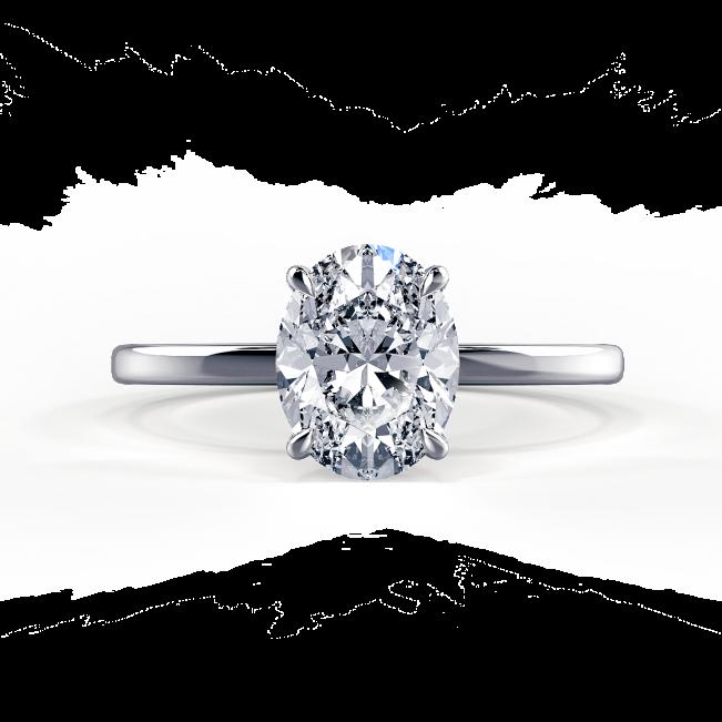 Кольцо с овальным бриллиантом - Фото 2