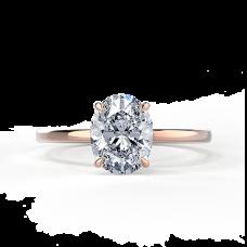 Кольцо из розового золота с бриллиантом овал