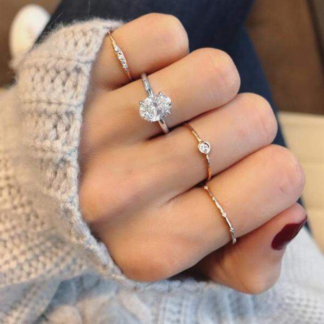 Кольцо с овальным бриллиантом - Фото 5