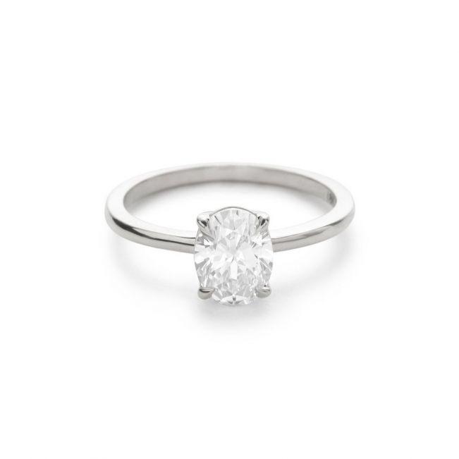 Кольцо с овальным бриллиантом - Фото 4
