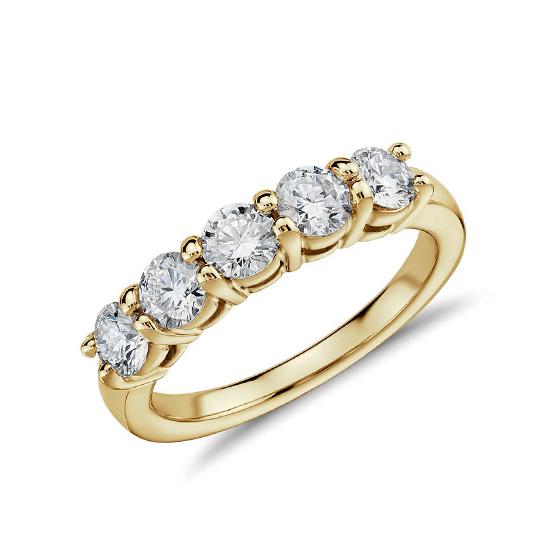 Кольцо с 5 бриллиантами из желтого золота, Больше Изображение 1
