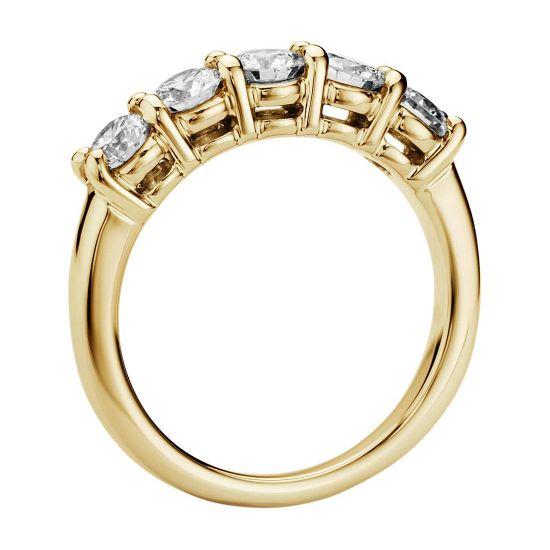 Кольцо с 5 бриллиантами из желтого золота,  Больше Изображение 2