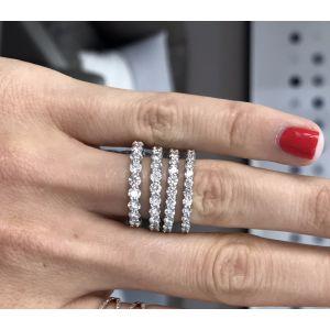 Тонкое кольцо дорожка с 15 бриллиантами