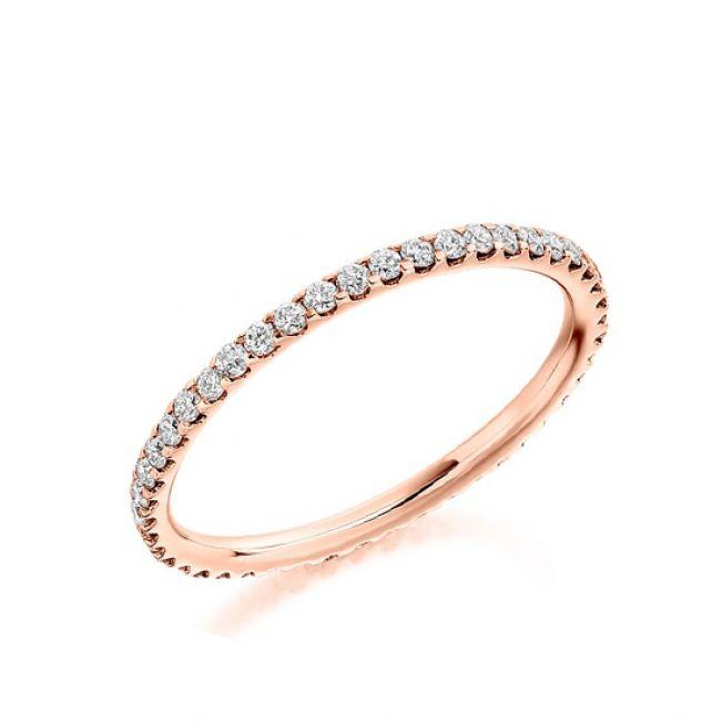Тонкое кольцо дорожка с бриллиантами из розового золота