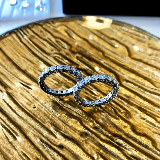 Кольцо дорожка с бриллиантами 3 мм,  Больше Изображение 5