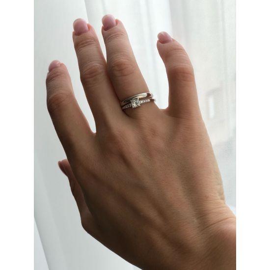 Кольцо с бриллиантом принцесса в центре,  Больше Изображение 4