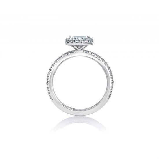 Классическое кольцо с бриллиантом Принцесса в паве,  Больше Изображение 2