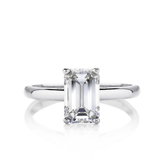 Кольцо с 1 бриллиантом изумрудной огранки, Больше Изображение 1