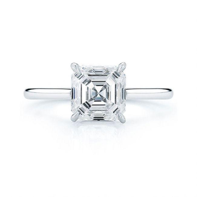 Кольцо с бриллиантом огранки ашер 1 карат
