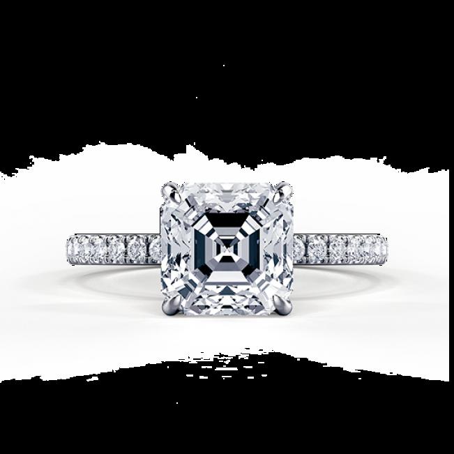Кольцо с бриллиантом формы Ашер