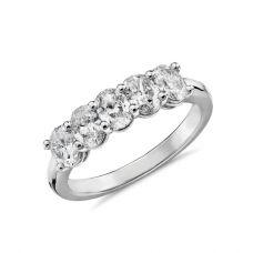 Кольцо с 5 бриллиантами овальной огранки