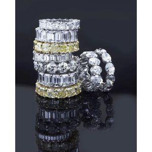 Кольцо дорожка с бриллиантами 7 карат огранки кушон