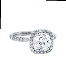 Кольцо с бриллиантом кушон в стиле малинка