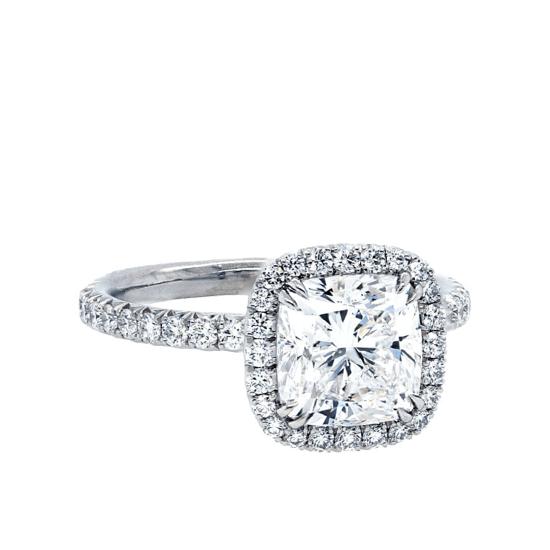 Кольцо с бриллиантом кушон в стиле малинка, Больше Изображение 1