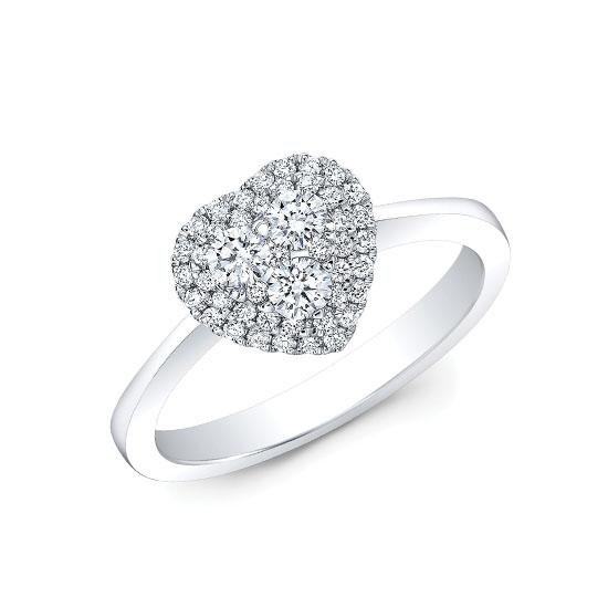 Кольцо с бриллиантами в форме сердца, Больше Изображение 1