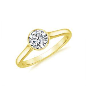 Кольцо с круглым бриллиантом в золоте