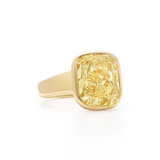Широкое кольцо с желтым бриллиантом из желтого золота,  Больше Изображение 2