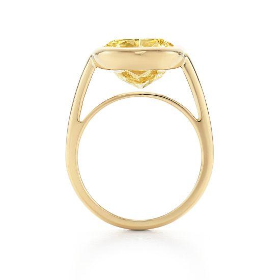 Широкое кольцо с желтым бриллиантом из желтого золота,  Больше Изображение 3