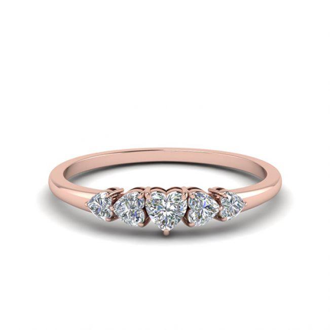Кольцо с 5 бриллиантами огранки Cердце из розового золота