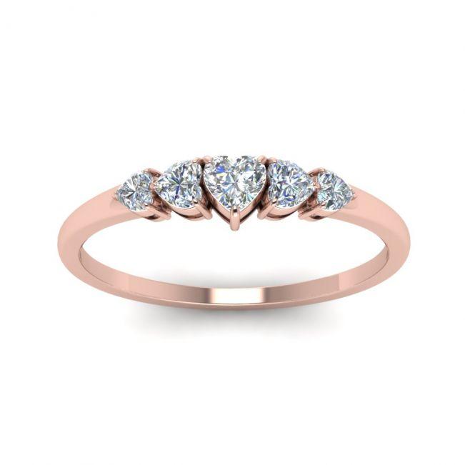 Кольцо с 5 бриллиантами огранки Cердце из розового золота - Фото 1