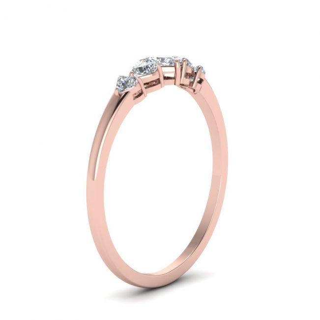 Кольцо с 5 бриллиантами огранки Cердце из розового золота - Фото 2