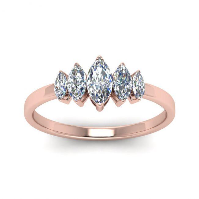 Кольцо с 5 бриллиантами Маркиз