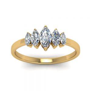 Кольцо с 5 бриллиантами огранки Маркиз