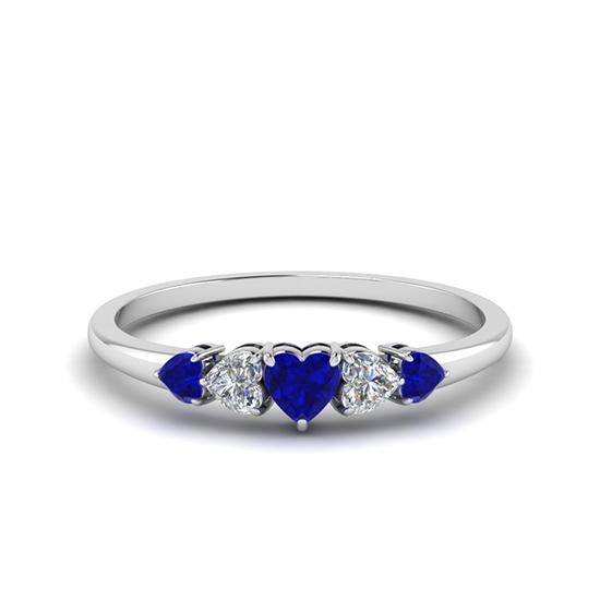Кольцо с бриллиантами и сапфирами, Больше Изображение 1