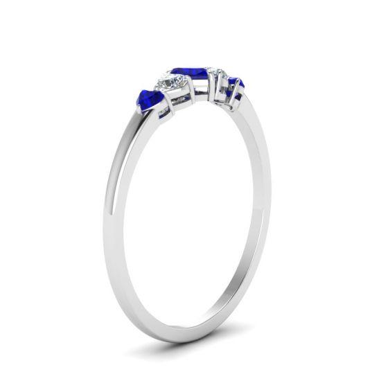 Кольцо с бриллиантами и сапфирами,  Больше Изображение 3