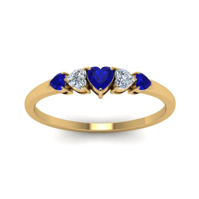 Кольцо с бриллиантами и сапфирами из золота