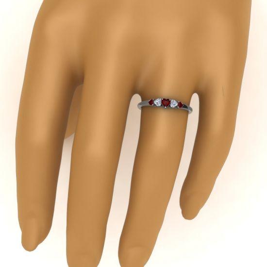 Кольцо с бриллиантами и рубинами в форме сердца,  Больше Изображение 4