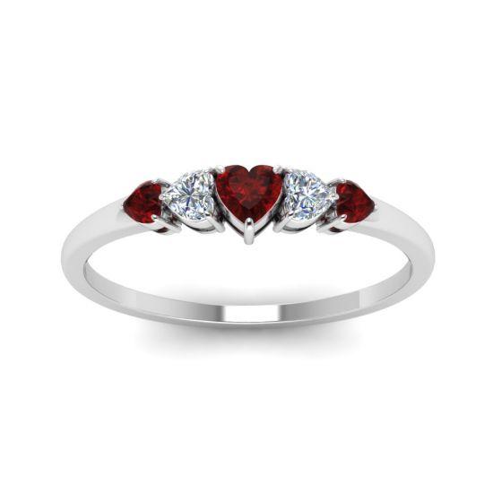 Кольцо с бриллиантами и рубинами в форме сердца,  Больше Изображение 2