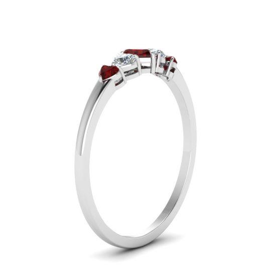 Кольцо с бриллиантами и рубинами в форме сердца,  Больше Изображение 3
