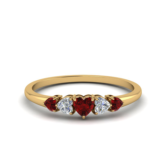 Кольцо с бриллиантами и рубинами Сердцами, Больше Изображение 1