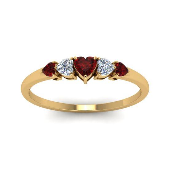 Кольцо с бриллиантами и рубинами Сердцами,  Больше Изображение 2