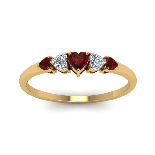 Кольцо с бриллиантами и рубинами Сердцами - Фото 1