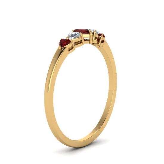 Кольцо с бриллиантами и рубинами Сердцами,  Больше Изображение 3