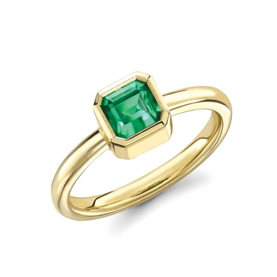 Стильное кольцо с изумрудом из желтого золота, Больше Изображение 1
