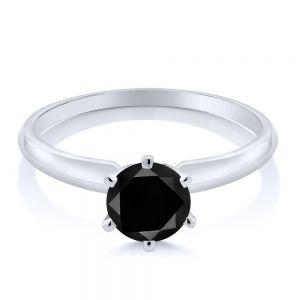 Кольцо с черным бриллиантом 1 карат - Фото 1